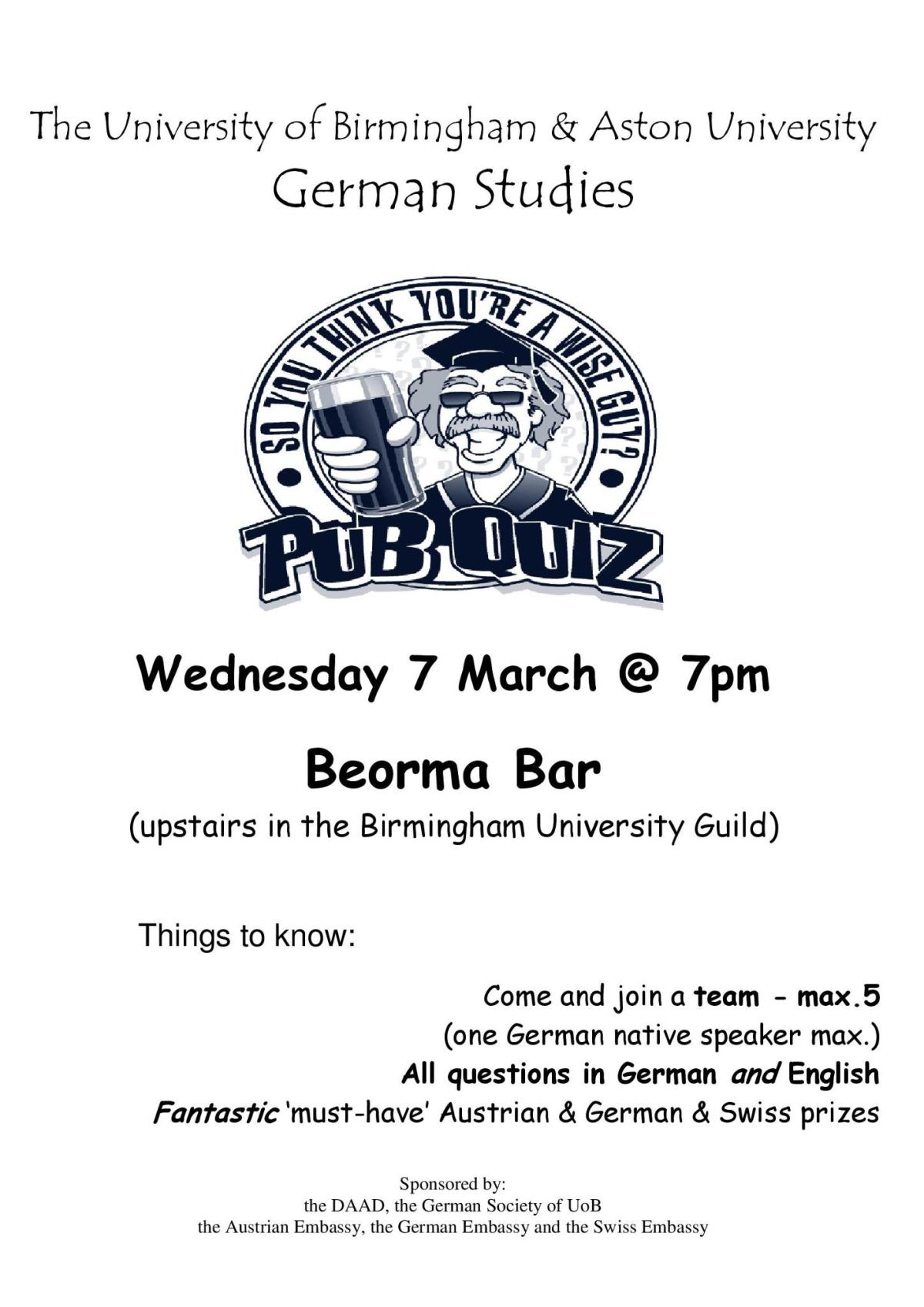 Big Upcoming Event: German Pub Quiz